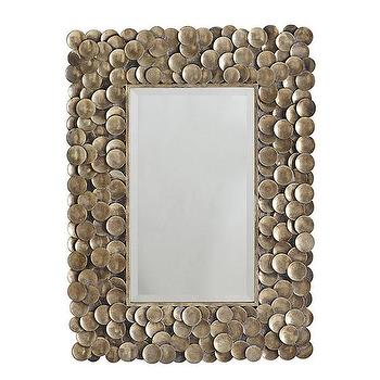 Mirrors - Stipple Mirror | Wisteria - metal disk mirror, round metal disc framed mirror, brass metal disk mirror,
