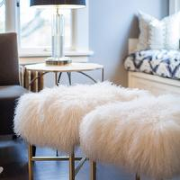 coco & kelly - living rooms: chic living rooms, white cowhide rug, shag stools, white shag stools, dark wood floors, living room window seat, window seat living room, built in window seat,