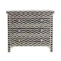 Storage Furniture - Chevron Bone Chest | Wisteria - chevron bone inlaid chest, black and white chevron chest, chevron bone inlay chest,
