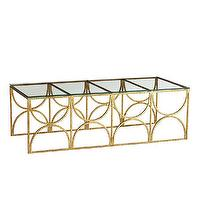 Tables - Fitzgerald Coffee Table | Wisteria - hammered gold leaf coffee table, geometric gilt coffee table, hammered gold leafed glass coffee table,