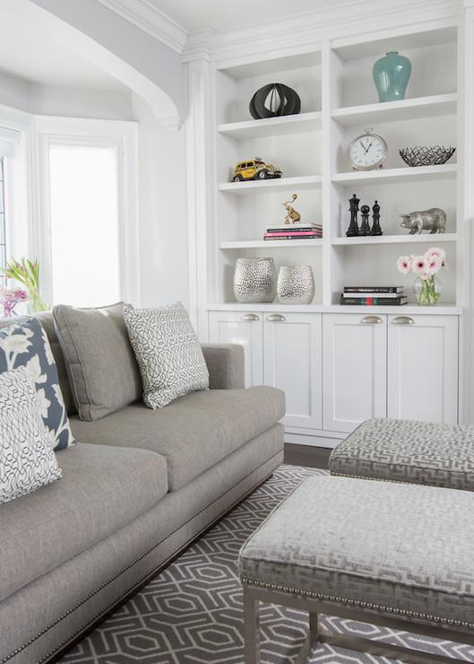 Greek Key Stools Transitional Living Room Jodie