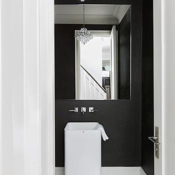 Black Grasscloth Wallpaper, Contemporary, bathroom, Jodie Rosen Design