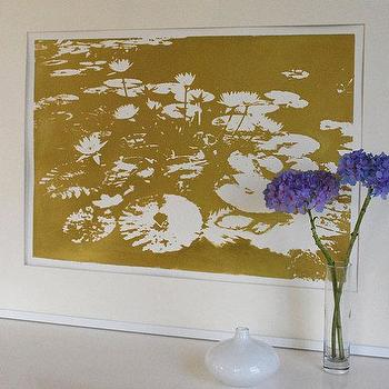 Art/Wall Decor - Water Lilies Gold by VivianandBeverly I Etsy - gold waterlily art, gold water lilies art, metallic gold waterlily art print,