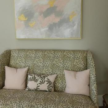 Annie Vincent Interiors - living rooms - leopard print sofa, leopard print settee, leopard print love seat, animal print sofa, animal print settee, blush pink pillow, pale pink pillow, blush pink and gray floral pillow, pink and gray floral pillow, abstract art, abstract art over sofa, abstract art over settee, gray pink and yellow art, gray pink and yellow abstract art, abstract art in floating frame, abstract art in gold floating frame, gray walls, gray wall color, feminine living room, pretty living room, pink and gray art,