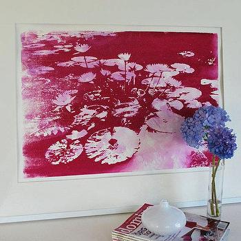 Art/Wall Decor - Water lilies Pink by VivianandBeverly I Etsy - fuchsia pink waterlily print, pink and white waterlily art print, mixed media pink waterlily art,