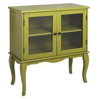 Storage Furniture - Toscana Cabinet - Moss Green I Pier 1 - moss green cabinet, green glass front cabinet, green cabriole leg cabinet,