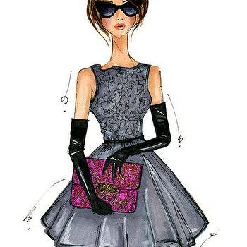 Art/Wall Decor - Fashion Illustration Print Modern Holly by anumt I Etsy - mixed media fashion illustration, holly golightly inspired art, fashion illustration art print,