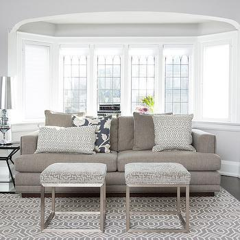 Jodie Rosen Design - living rooms: bay window, living room bay window, bay window living room, bay window nook, bay window alcove, 2 cushion sofa, gray 2 cushion sofa, gray sofa, gray couch, gray linen couch, lattice pillow, gray lattice pillow, white and grey pillows, gray velvet stools, greek key ottomans, gray greek key ottomans, geometric rug, gray geometric rug, , living room bookcase, built in bookcase, living room bookshelf, built in bookshelf, built in bookshelf, living room nook, living room alcove, gray living room, gray and white living room,