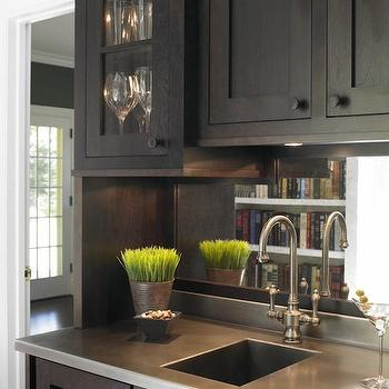 Christine Donner Kitchens - kitchens - wet bar, wet bar design, wet bar ideas, espresso cabinets, wet bar cabinets, glass front cabinets, wet bar sink, bar sink, stainless steel countertop, wine cooler, glass door wine cooler,