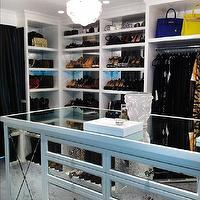 closets - mirrored island, mirrored closet island, antique mirrored island, antiqued mirrored island, shelves for shoes, shoe shelves, mirrored backsplash, antiqued mirrored backsplash, walk in closets,