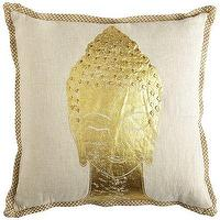 Pillows - Capri Buddha Pillow I Pier 1 - gold buddha pillow, metallic gold buddha pillow, jute trimmed buddha pillow,