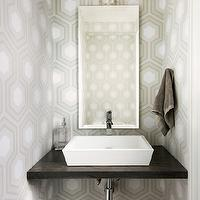 Jodie Rosen Design - bathrooms: small powder rooms, tiny powder rooms, powder room wallpaper, wallpaper for powder rooms, white and tan wallpaper, geometric wallpaper, tan geometric wallpaper, hex wallpaper, tan hex wallpaper, hexagon wallpaper, tan hexagon wallpaper, floating vanity, floating washstand, bling sconce, robert abbey sconce, vessel sink,