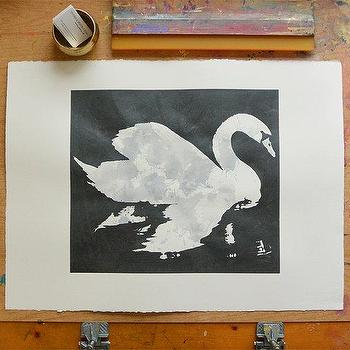 Art/Wall Decor - Swan Metallic Dark Grey/Black by VivianandBeverly I Etsy - gray and black swan art, screen printed swan art, ink swan print, swan wall art,