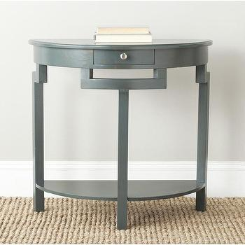 Tables - Safavieh Liana Dark Teal Console | Overstock.com Shopping - gray demi lune console, gray demilune console, gray single drawer console table,