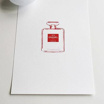 Art/Wall Decor - Chanel Number 5 Red small print by VivianandBeverly I Etsy - red chanel perfume art, chanel perfume bottle art, red chanel number 5 art print,