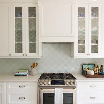 Aqua Arabesque Tiles, Transitional, kitchen, Vanessa Francis Design
