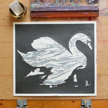 Art/Wall Decor - Swan Marble Metallic Dark Grey/Black by VivianandBeverly I Etsy - screen printed swan art, marble swan art print, gray ink swan art, contemporary swan wall art,