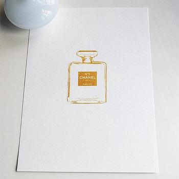 Art/Wall Decor - Chanel Number 5 Small gold print by VivianandBeverly I Etsy - gold chanel art print, chanel perfume bottle gold art, gold ink chanel perfume art,