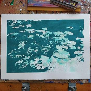 Art/Wall Decor - Water Lilies Teal Green by VivianandBeverly I Etsy - teal waterlily art, teal water lilies art print, teal green water lilies print,