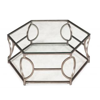 Tables - Nevelson Hexagonal Glass Cocktail Table | Overstock.com - modern glass cocktail table, antiqued silver cocktail table, silver hexagonal coffee table, hexagonal coffee table,