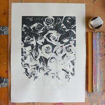 Art/Wall Decor - Roses Metallic Dark Grey/Black by VivianandBeverly I Etsy - black and white roses art print, screen printed roses art print, metallic gray roses art print,