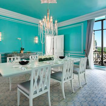 The St Regis New York - dining rooms - tiffany blue, tiffany blue rooms, tiffany blue dining room, tiffany blue ceiling, tiffany blue ceiling, wall moldings, dining room moldings, dining room chair rail, chair rail, chair rail dining room, antiqued mirrored table, antiqued mirrored sideboard, lattice dining chairs, lattice back chairs, lattice back dining chairs, white lattice chairs, white lattice dining chairs, white dining table, white beaded chandelier, geometric rug, wall moldings, decorative wall moldings,