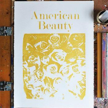 Art/Wall Decor - American Beauty Gold by VivianandBeverly I Etsy - metallic gold roses art, gold rose art print, metallic gold screen print art,