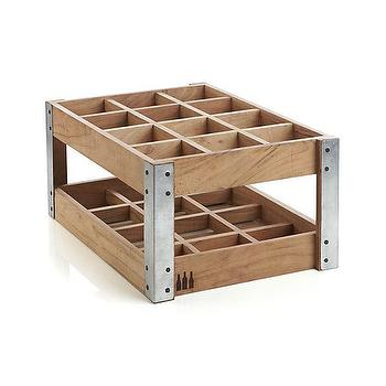Decor/Accessories - Case Wine Rack | Crate and Barrel - wooden wine crate, wood and steel wine rack, crate style wine rack,