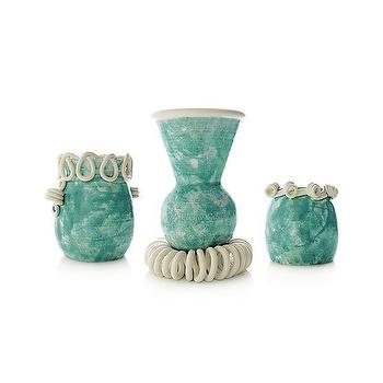 Decor/Accessories - Fish Ceramic Vases | Crate and Barrel - aqua blue pottery, aqua blue ceramic vase, aqua glazed vase,