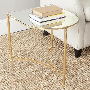 Tables - Safavieh Treasures Nevin Gold/ Mirror Top Accent Table | Overstock.com - gold mirror topped side table, curved gold mirror side table, gold leafed mirrored accent table,