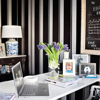 White and Black Striped Wallpaper, Contemporary, Den/library/office, Atlanta Homes & Lifestyles