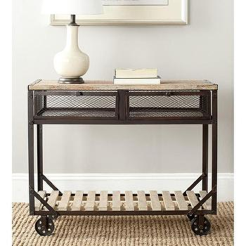 Tables - Safavieh Shroder Natural Rolling Console Table | Overstock.com - industrial console table, rolling industrial console table, iron rolling console table,
