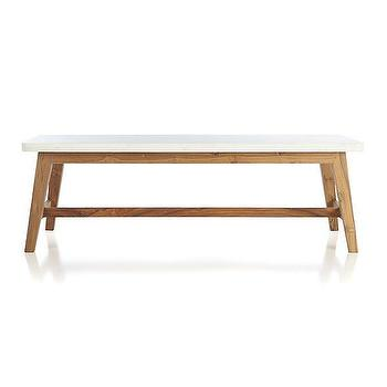 Tiles - Cliff Coffee Table | Crate and Barrel - marble slab coffee table, contemporary white marble coffee table, modern white marble coffee table, marble topped wood coffee table,