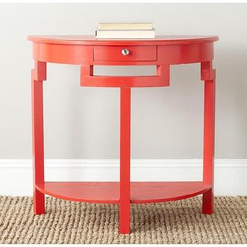 Tables - Safavieh Liana Hot Red Console | Overstock.com - red console table, red demilune console table, red demi lune console,