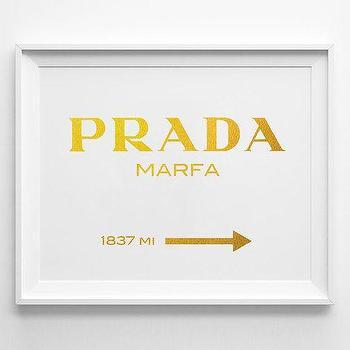 Art/Wall Decor - Prada Marfa Inspired Gold Poster Typography Poster by sinansaydik I Etsy - prada marfa art print, prada marfa typography art, prada marfa directions art,