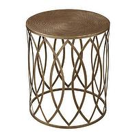 Tables - Antique Gold Finish Round Metal Accent Table | Overstock.com - antique gold accent table, antiqued gold drum table, antique gold accent table,