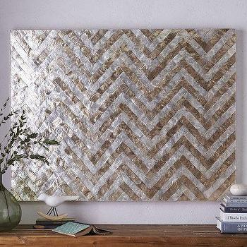 Art/Wall Decor - Capiz Wall Art Chevron | West Elm - capiz shell wall art, chevron capiz shell wall art, silver and gold chevron wall art, metallic chevron wall decor,