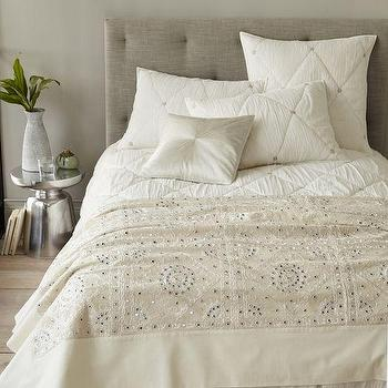 Bedding - Found Embellished Blanket | West Elm - indian blanket, ivory indian blanket, mirrored ivory blanket, mirrored indian bedding,