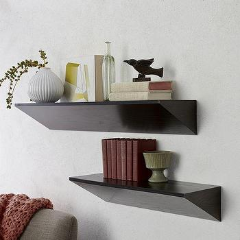 Art/Wall Decor - Wedge Shelf - Chocolate | West Elm - modern shelf, modern floating shelf, chocolate brown floating shelf,