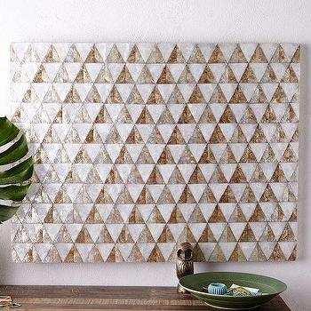 Art/Wall Decor - Capiz Wall Art Triangle | West Elm - geometric capiz shell wall art, silver and gold shell wall art, inlaid capiz shell wall art, capiz inlay wall decor,