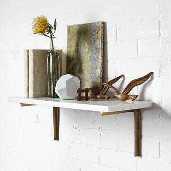 Art/Wall Decor - Marble Shelf + Shape Bracket Set | West Elm - marble shelf, marble shelves, brass shelf bracket, brass and marble shelf, marble shelf with brass bracket,