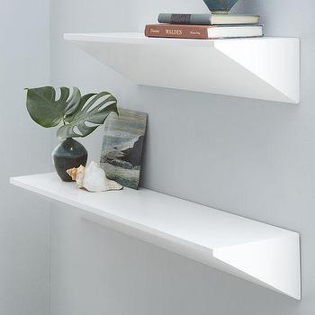 Art/Wall Decor - Wedge Shelf - White | West Elm - white lacquered shelf, modern white shelf, white lacquered floating shelf,