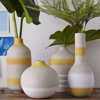 Decor/Accessories - Striped Vases | West Elm - striped stoneware vase, yellow and gray vase, sculptural striped vase,