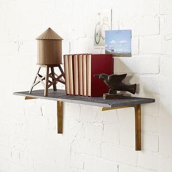 Art/Wall Decor - Slate Shelving + Shape Bracket Set | West Elm - slate shelf, slate shelves, brass shelf bracket, brass shelf support, brass and slate shelves,