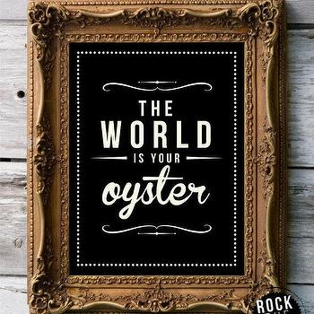 Art/Wall Decor - RETRO VINTAGE Art Print The World Is Your by RockTheCustard I Etsy - the world is your oyster print, the world is your oyster art, vintage black and white art print,