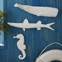 Art/Wall Decor - Papier-Mache Animal Sculpture - Sea Animals | West Elm - papier mache seahorse, white seahorse wall decor, white fish wall decor, papier mache fish wall decor, white whale wall decor, papier mache whale wall art,