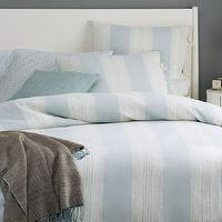 Bedding - Coastal Stripe Duvet Cover + Shams - Light Pool | West Elm - blue and white striped bedding, sky blue and white striped bedding, blue and white striped bed linens, striped bedding with tie closures,