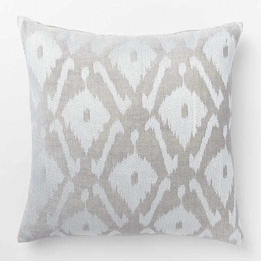 Decorative Pillows At West Elm : Velvet Ikat Embroidered Diamond Pillow Cover - West Elm