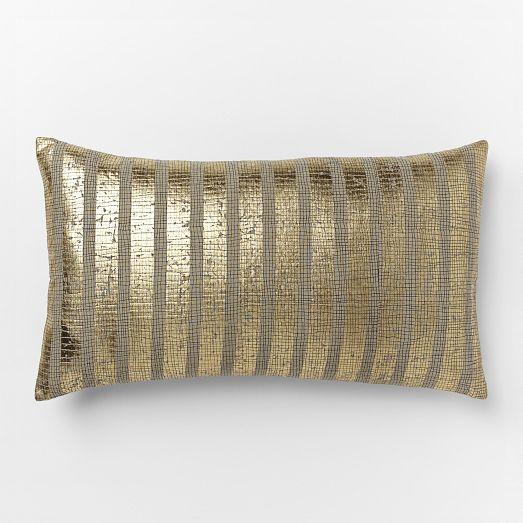 metallic sovereign stripe pillow cover west elm. Black Bedroom Furniture Sets. Home Design Ideas