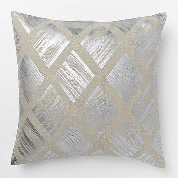 Pillows - Metallic Diamond Pillow Cover Silver | West Elm - silver metallic pillow, silver diamond pillow, silver metallic diamond pillow,